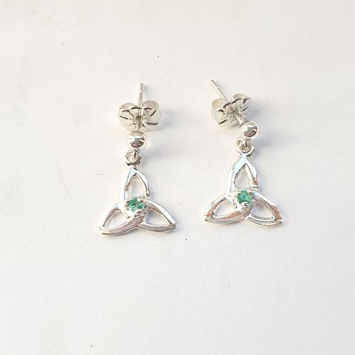 Emerald Trinity Knot Earrings Made In Ireland